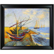 Fishing Boats on the Beach at Saintes-Maries Framed Canvas Wall Art