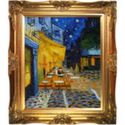 Café Terrace at Night Framed Canvas Wall Art