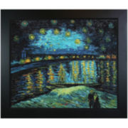 Starry Night over the Rhone Framed Canvas Wall Art
