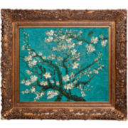 Branches of an Almond Tree in Blossom Framed Canvas Wall Art