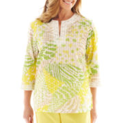 Alfred Dunner® Fresh Picked Abstract Patch Print Tunic Top - Petite