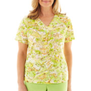 Alfred Dunner® Fresh Picked Scenic Print Burnout Top - Petite