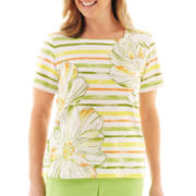 Alfred Dunner® Fresh Picked Striped Floral Print Knit Top (copy)