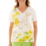 Alfred Dunner® Fresh Picked Floral Butterfly Print Top - Petite