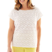 Alfred Dunner® Fresh Picked Lace Knit Top - Petite