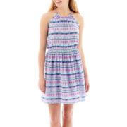 Decree® Sleeveless Halter-Neck Lace-Back Dress