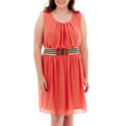 by&by Sleeveless Belted Chiffon Dress - Plus