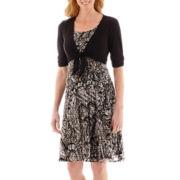 Perceptions Elbow-Sleeve Tie-Front Knit Jacket Dress
