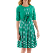 Perceptions Elbow-Sleeve Tie-Front Polka Dot Jacket Dress