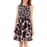 Danny & Nicole® Sleeveless Belted Floral Print Fit-and-Flare Dress