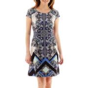 Beige By Eci Cap-Sleeve Geo Print Fit-and-Flare Scuba Dress