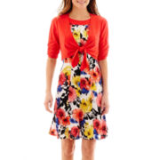 Perceptions Floral Print Front-Tie Jacket Dress - Petite