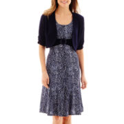 Perceptions Short-Sleeve Polka-Dot Jacket Dress - Petite