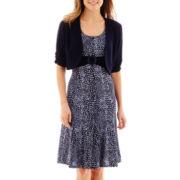 Perceptions Short-Sleeve Polka-Dot Jacket Dress - Petite