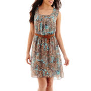 Alyx® Sleeveless Belted Paisley Print Dress - Petite