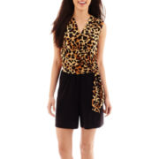 Tiana B. Sleeveless Animal Print Faux-Wrap Romper - Petite