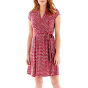 Liz Claiborne® Short-Sleeve Faux-Wrap Print Dress