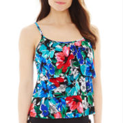 Jamaica Bay® Floral Print Triple Tier Tankini Swim Top