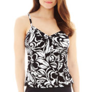 Jamaica Bay® Diagonal Ruffle Tankini Swim Top