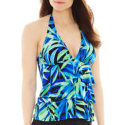 Jamaica Bay® Palm Print Ruffled Layered Halterkini Swim Top
