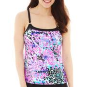 St. John's Bay® Animal Print Camikini Swim Top