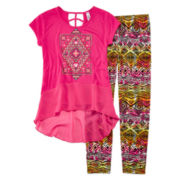 Beautees 2-pc. High-Low Top and Leggings Set - Girls 7-16