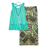 Beautees 2-pc. Necklace Top and Maxi Skirt Set - Girls 7-16