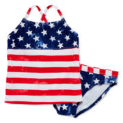 Angel Beach American Flag Tankini – Girls 7-16