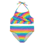 St. Tropez Rainbow Stripe Swimsuit – Girls 7-16