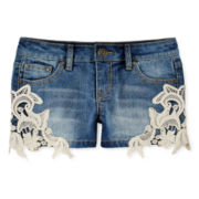 Vigoss® Crochet-Lace Denim Shorts – Girls 7-14