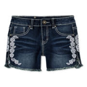Vigoss® Lace-Detailed Denim Dolphin Shorts – Girls 7-14