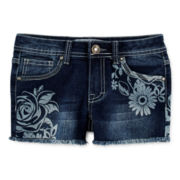 Vigoss® Floral-Print Rhinestone Denim Shorts – Girls 7-14