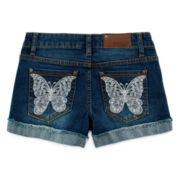 Vigoss® Butterfly Embroidered Denim Shorts - Girls 7-14