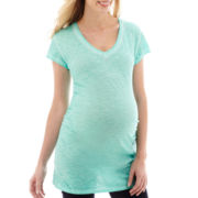 a.n.a® Maternity Short-Sleeve Ruched T-Shirt - Plus