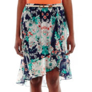 by&by High-Low Chiffon Print Skirt
