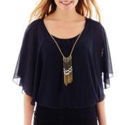 by&by Flutter-Sleeve Smocked-Hem Necklace Top