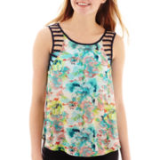 by&by Sleeveless Lattice-Trim Print Top