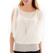 by&by 3/4-Sleeve Woven Smocked Necklace Top