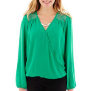 Heart & Soul® Long-Sleeve Chiffon Necklace Top