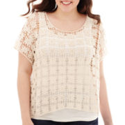 Arizona Short-Sleeve Popover Crochet T-Shirt - Plus