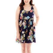 Arizona Sleeveless Floral Print Lace-Back Skater Dress - Plus