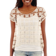 Arizona Short-Sleeve Popover Crochet T-Shirt