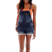 Arizona Lace-Trim Denim Shortall