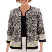 Alfred Dunner® 3/4-Sleeve Morocco Spliced Tile Jacket - Petite