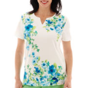 Alfred Dunner® Ocean Drive Short-Sleeve Floral Watercolor Top