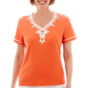 Alfred Dunner® Short-Sleeve Sunny Days Soutaché Scroll Yoke Top - Petite