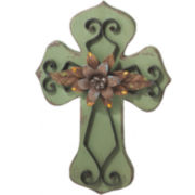Large Green Metal Wall Cross
