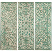 Green Medallion Set of 3 Metal Wall Art