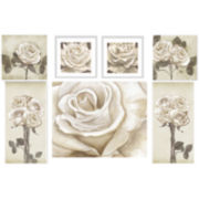 White Roses 7-pc. Wall Decor Set