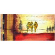 Crimson Mist Bird Trio Canvas Wall Art